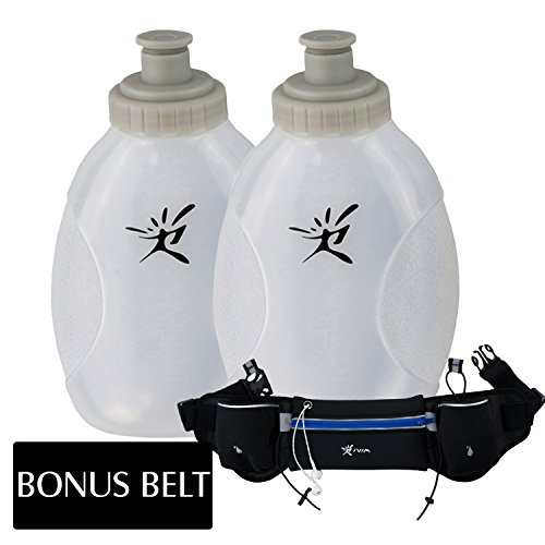 2 Leakproof Sports Water Bottles for Marathon with Push Pull Cap, Flask Replacement for Hydration Running Belt (10ounce/280milliliter)