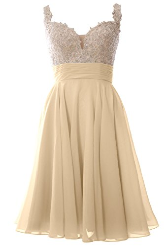 MACloth Women Straps Short Prom Dress Lace Chiffon Wedding Party Formal Gown Champagne