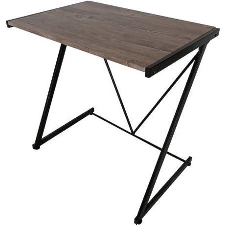 Urban Shop Z Shaped Student Desk Sturdy Metal Frame Wood Black