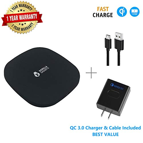 Fast Wireless Charger (with QC 3.0 Adapter), 3 Coils Qi 10W Fast Wireless Charging Foldable Stand Compatible with iPhone X XR XS XS Max 8/8+ Galaxy s9/s9+ Note 9/8 S8/S8+ S7/S7 Edge (Black - Square)