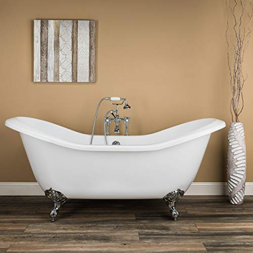 Randolph Morris Serenity 72 Inch Acrylic Double Slipper Clawfoot Tub - Rim Faucet Drillings - Imperial Ball & Claw Feet