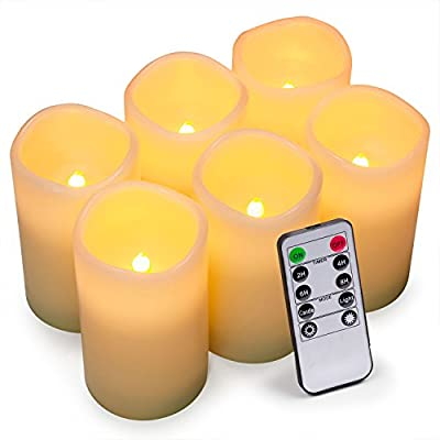 Aku Tonpa Flameless Candles Battery Operated Pillar Real Wax Flickering Electric LED Candle Gift Set with Remote Control Cycling 24 Hours Timer, Warm White Lights