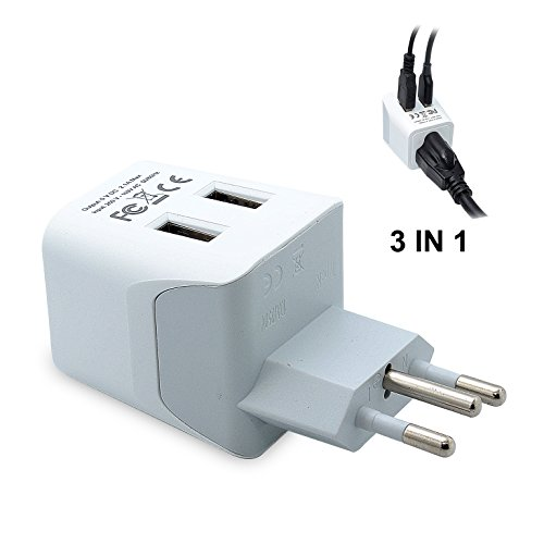 Ceptics USA to Brazil Travel Adapter Plug  With Dual USB - Type N  - Ultra Compact...