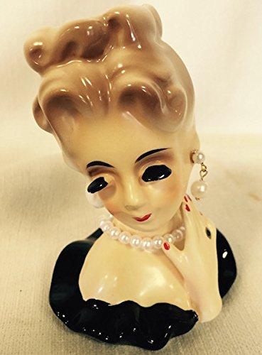 Pixie Lady Head Vase with Black Dress