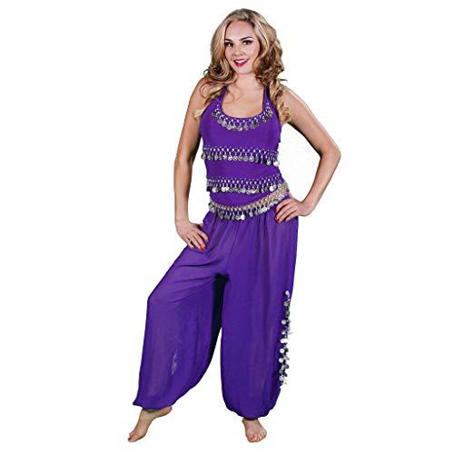 MissBellyDance Harem Pants & Halter Top Belly Dancer Costume Set | Sadiqa II (Purple/Gold, XXL) - CS12 ()