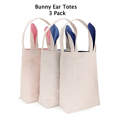 Hoople Easter Bunny Ears Basket Canvas Bags Tote Stuffers Egg Hunt For Girls and Boys 3 Pack