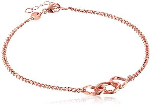 14k Bracelet Gold Rose Link - 14k Italian Rose Gold Adjustable Link Bracelet, 7.5