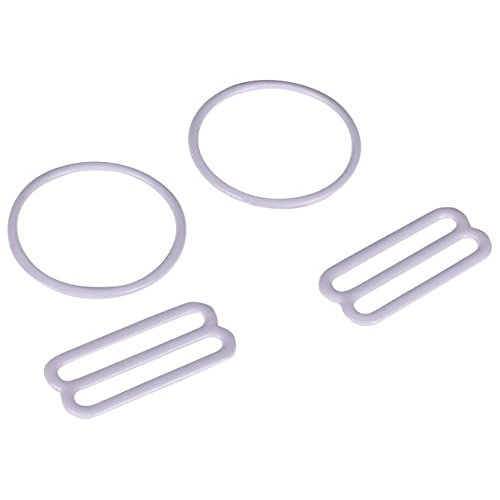 - Porcelynne White Nylon Coated Metal Replacement Bra Strap Slide and Ring Set - 7/8