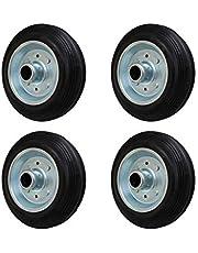 4 stuks 200 mm massief rubberen wiel wiel voor transportwielen zwenkwielen transportapparatuurwiel