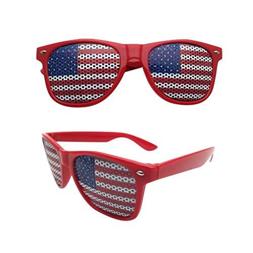 Sunglasses for USA Independence Day American Flag USA Patriotic Design Plastic Shutter Glasses Party Props Shades Sunglasses Eyewear (Red)