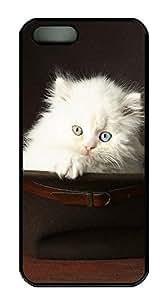 iPhone 5 5S Case Cute Pets White Cat PC Custom iPhone 5 5S Case Cover Black