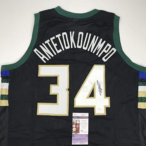23ba68be7 Autographed Signed Giannis Antetokounmpo Milwaukee Black Custom Basketball  Jersey JSA COA. Giannis Antetokounmpo Milwaukee Bucks Signed Basketball