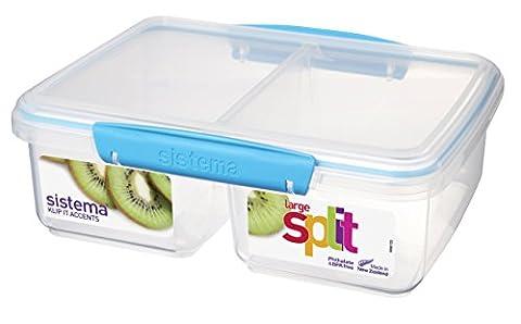 Sistema 2 Litre Polypropylene Split Food Storage with Lime/ Aqua/ Purple/ White Clips and Seals in Transparent - Split Seal