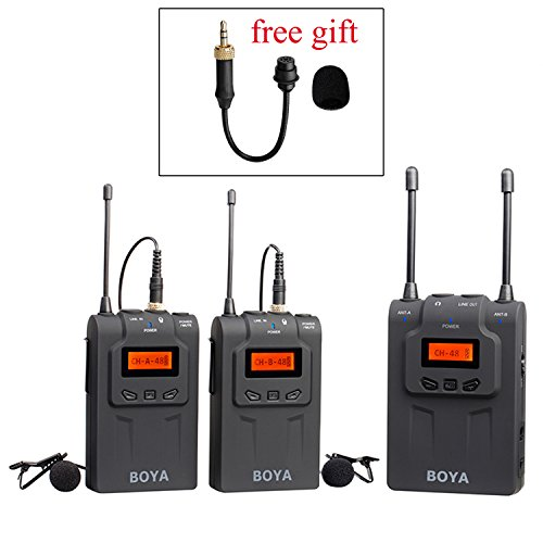 BOYA BY-DTUM48C UHF Dual-Channel Wireless Lavalier Microphone System with 48 Channels with BY-UM2 Gooseneck Microphone for Canon Nikon ENG EFP DSLR Cameras Sony RX0 Camcorders by BOYA