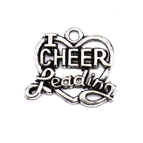 JETEHO 25 pcs Cheerleading Charms Silver Tone Charms Cheer Charms for Jewelry Making Bracelet DIY Necklace (Cheerleader Charm Necklace)