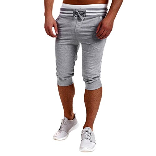 Forthery Mens Casual Sport Gym Trousers Loose Pants Jogger Shorts (XL, Gray)