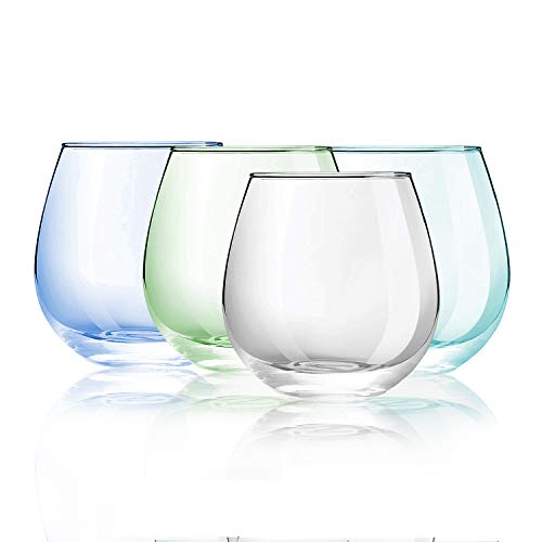 4 Pack 12 oz O Wine Tumbler Stemless Glass, O Tumbler Glass for Home Decor Party Wine Whisky Water Juice Summer Party Soft Drink Sundae Milk Shake