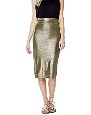 GUESS Kim High-Rise Metallic Midi Skirt