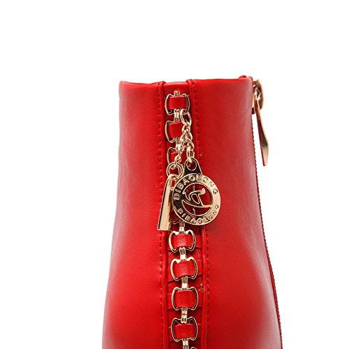 AllhqFashion Mujeres Puntera Cerrada Redonda Tobillo Tacón ancho Botas con Ornamento Metal Rojo