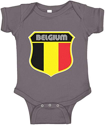 (Amdesco Belgium Flag Crest Belgian Infant Bodysuit, Charcoal Grey 12 Month)