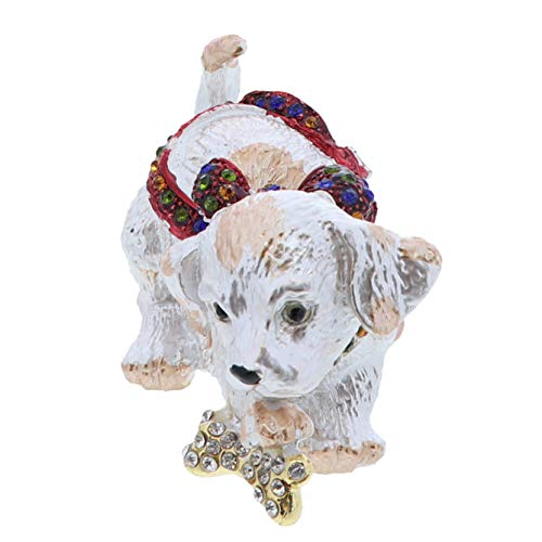 - Li'Shay Animal Figurine Hinged Ring Trinket Box-Dog