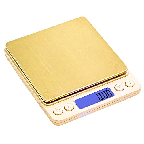 Kitchen Scale,TBBSC 3000g/0.1g Digital Pocket Stainless Jewelry & Kitchen food Scale (Glod)