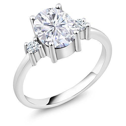 925 Sterling Silver Solitaire w/Accent Stones Ring Forever Classic Oval 2.10ct (DEW) Created Moissanite by Charles & Colvard and Created - Sterling Brilliance Ring Silver