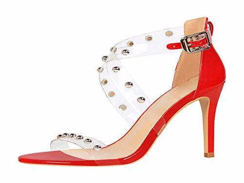 Sexy De Rivets En Ceinture Chaussures Fermoir Femmes Mtal 10 sept Des Femmes Croix Trente Hauts Transparent t Gules Talons Sandales Toe Kphy Mode Cm tFqBzwt