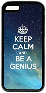 Galaxy Space Background Quote Keep Calm And Be A Genius Hard Back Cover Case For Iphone 5C by lolosakes