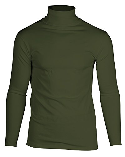 KalvonFu Men's Cotton Long Sleeve Soft Turtleneck Thermal Slim T-Shirt (L, Army Green) Turtle Green T-shirt