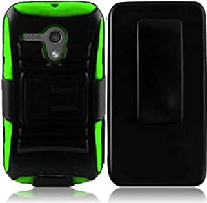 VMG 2-In-1 Combo for New Motorola MOTO G (Dec 2013 Version) cell phone Hybrid PC+Silicone Built-In Kickstand Case with Compatible Belt Clip Holster Cover - Green