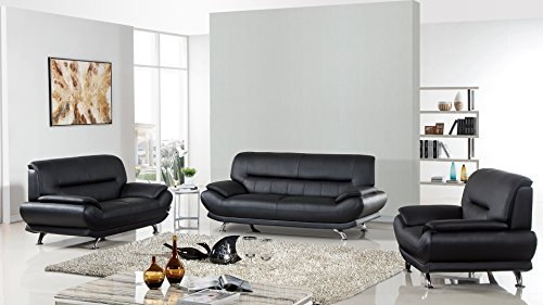 American Eagle Furniture 3 Piece Arcadia Collection Complete Genuine Leather Living Room Sofa Set, (Genuine Leather Living Room)