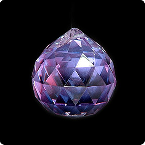 Feng Shui Hanging Faceted Crystal 40mm Violet Sphere Ball with Box 21627