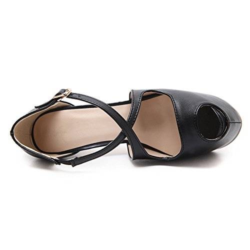 fereshte Women's Fashion High Heels Sexy Peep ToeHollow Shoes Platform Shoes Sandals Black UwNAsHM37