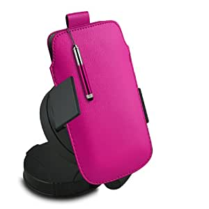 ONX3 BlackBerry Porsche Design P'9982 Leather Slip cuerda del tirón de la PU de protección en la bolsa con el caso de Quick Release, 360 que gira la horquilla del parabrisas del coche y mini capacitiva lápiz óptico retráctil (Hot Pink)
