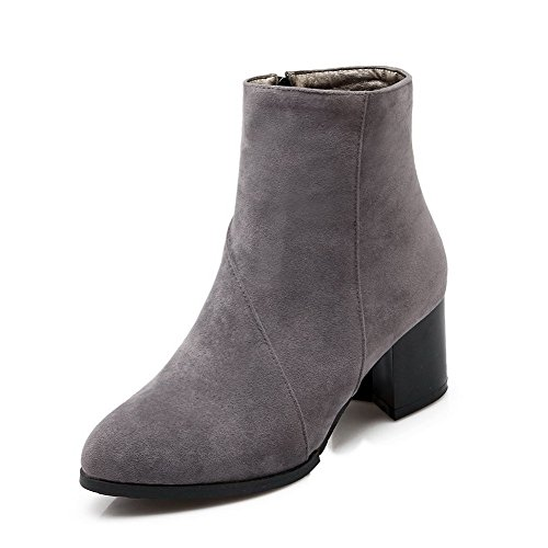 Allhqfashion Womens Low-top Solid Zipper A Punta Chiusa Con Gattini E Stivaletti Color Grigio