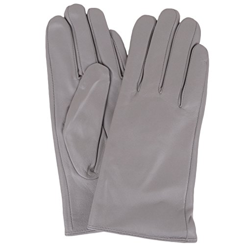 Extra Soft Leather Glove (SNUGRUGS Womens Butter Soft Premium Leather Glove with Warm Fleece Lining - Light Grey - Extra Large (8