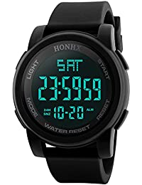 Men's Digital Sports Watch LED Screen Large Face Military Watches and Waterproof Casual Luminous Stopwatch Alarm Simple Army Watch,Mens Watches on Sale Clearance X63 (A)