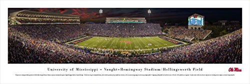 Ole Miss Football Stadium - Ole Miss Rebels Football - 50 Yard - Night - Blakeway Panoramas Unframed College Sports Posters