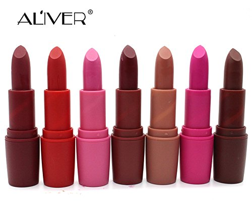 ALIVER Matte Lipsticks Perfect Vivid Lipsticks Long Lasting Makeup Lip sticks 7 Colors by ALIVER