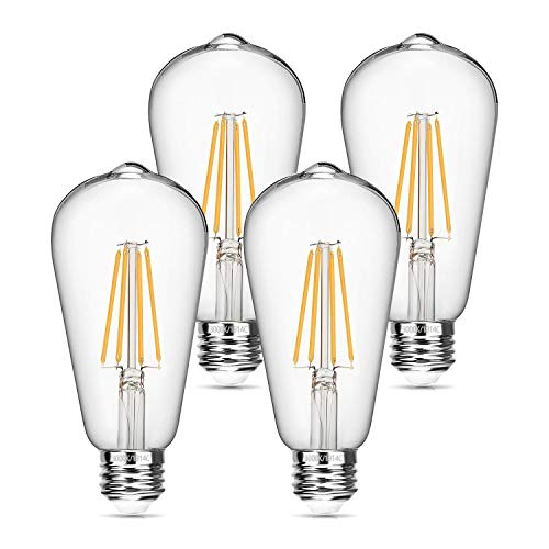 Vintage LED Edison Bulb 6W Dimmable LED Filament Bulb 60W Equivalent 3000K Soft White 620LM E26 Base ST64 Antique Light Bulbs Decorative Clear Glass for Home, Reading Room, Bathroom, Kitchen, 4 Pack
