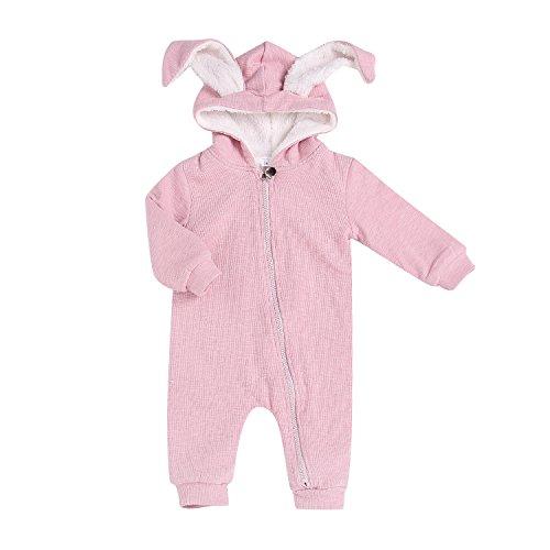 AlwaysFun Newborn Unisex Baby One Piece Long Sleeve Cartoon Bunny Rabbit Ear Hooded Romper Zipper Jumpsuit Winter Warm Coverall Bodysuit (Pink, 6-9Months)