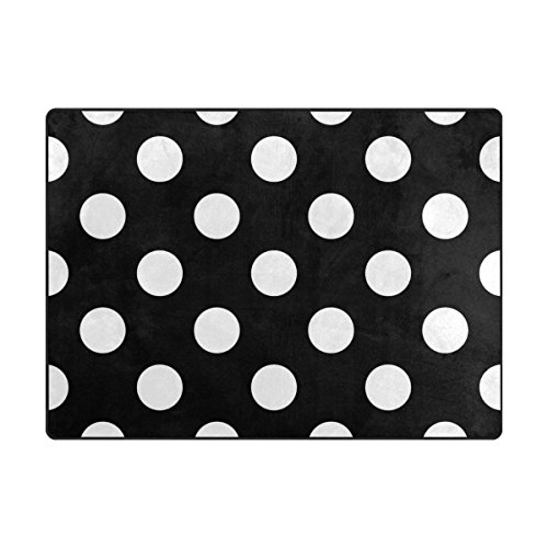 Vantaso Stylish Black White Big Polka Dots Soft Foam Play Mat for Children Non Skid Game Area Rugs Kids Bedroom Playroom Nursery Decor 80 x 58 Inch