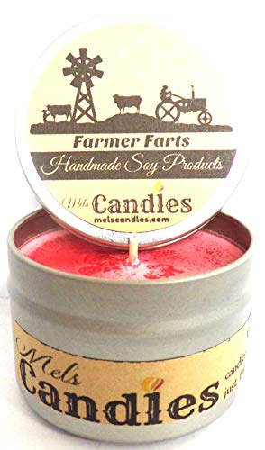 Farmer Farts (Fruity Type Aroma)- 4oz All Natural Soy Candle Tin - Approximate Burn Time 36 Hours Novelty Candle