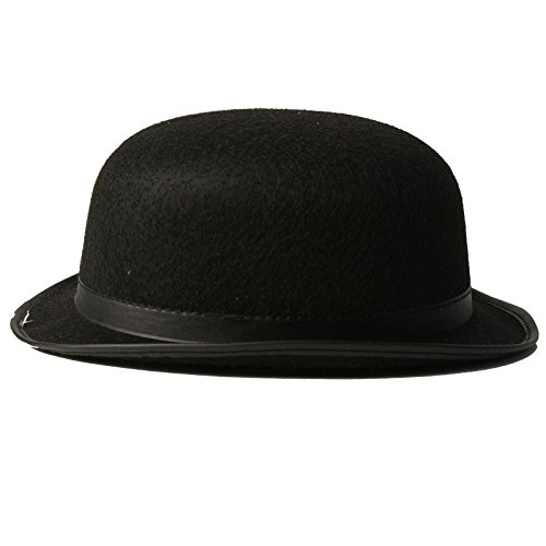 New Black Felt Bowler Derby Hat Costume Dance Plays Medium Made in USA (Bowler Hat)