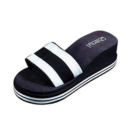 LANDFOX Zapatos de verano de las mujeres Sandalias Zapatilla interior y exterior Negro