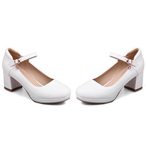 Shoes 411 Court Heel Block Fashion TAOFFEN Women's White wUzfRqnXx
