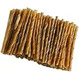 Bastoncini torciglioni - Cicche arrotolate, snack dentale naturale in pelle di bufalo grezza, senza conservanti (100 pz)