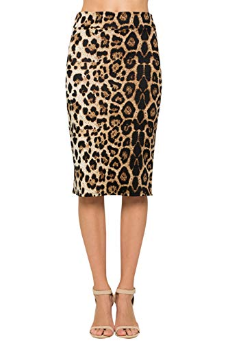 Junky Closet Women's Comfort Stretch Pencil Midi Skirt (3X-Large, 2936GRAP Animal)