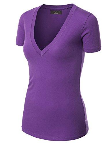 WT3 Womens Basic Fitted Soft Short Sleeve Deep V Neck T Shirt M Purple ()